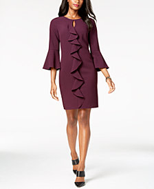 Jessica Howard Bell-Sleeve Keyhole Ruffle Dress