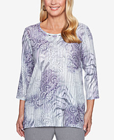 Alfred Dunner Smart Investments Mixed-Print 3/4-Sleeve Top
