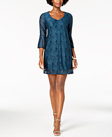 Connected Petite Bell-Sleeve Lace Dress