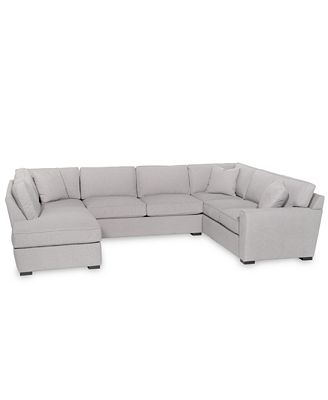 Furniture Callington 3 Pc Fabric Feather Down Chaise Sectional Sofa