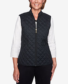 Alfred Dunner Petite Travel Light Cotton Reversible Puffer Vest