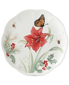 Lenox Butterfly Meadow Holiday Accent Plate  Amaryllis and Sprigs of Berry Design