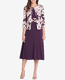 Jessica Howard Petite Floral-Print Jacket & Midi Dress