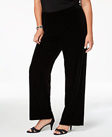 Alex Evenings Plus Size Velvet Wide-Leg Pants