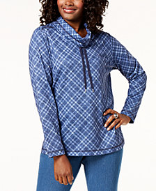 Karen Scott Plaid Funnel-Neck Top, Created for Macy's