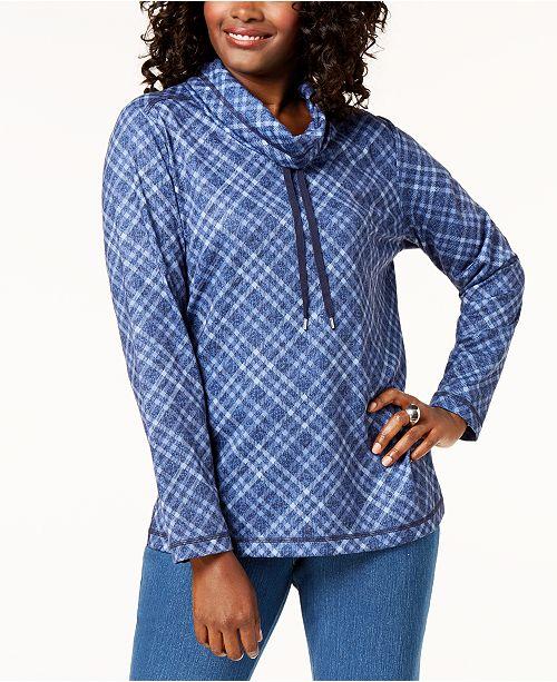 for Scott Neck Plaid Created Blue Intrepid Top Karen Funnel Macy's fA17wnq