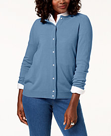 Karen Scott Petite Luxsoft Crew-Neck Cardigan Sweater, Created For Macy's