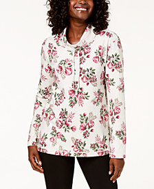 Karen Scott Petite Floral-Print Funnel-Neck Sweatshirt, Created for Macy's