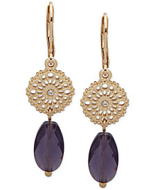 lonna & lilly Gold-Tone Pavé Disc & Bead Double Drop Earrings