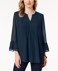 Charter Club Double Ruffle Solid Pintuck Top, Created for Macy's