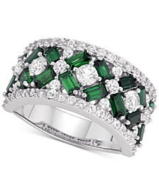 Cubic Zirconia Simulated Emerald Cluster Statement Ring in Sterling Silver