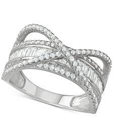 Cubic Zirconia Baguette Crossover Statement Ring in Sterling Silver