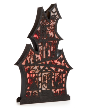 Martha Stewart Collection Halloween Led Haunted House Wall Plaque Created for Macys