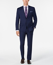 Michael Kors Men's Classic/Regular Fit Coolmax Stretch Bright Blue Twill Wool Suit