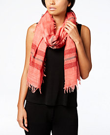 Eileen Fisher Wool Blend Striped Fringe Scarf