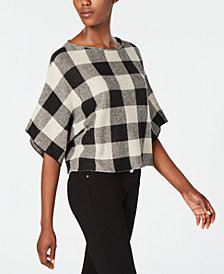 Eileen Fisher Organic Linen Plaid Top