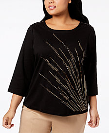 Alfred Dunner Plus Size Travel Light Embellished 3/4-Sleeve Top