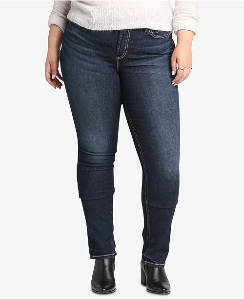 0b9e9f72e93 ... Silver Jeans Co. Plus Size Avery High-Rise Curvy-Fit Straight Jeans ...
