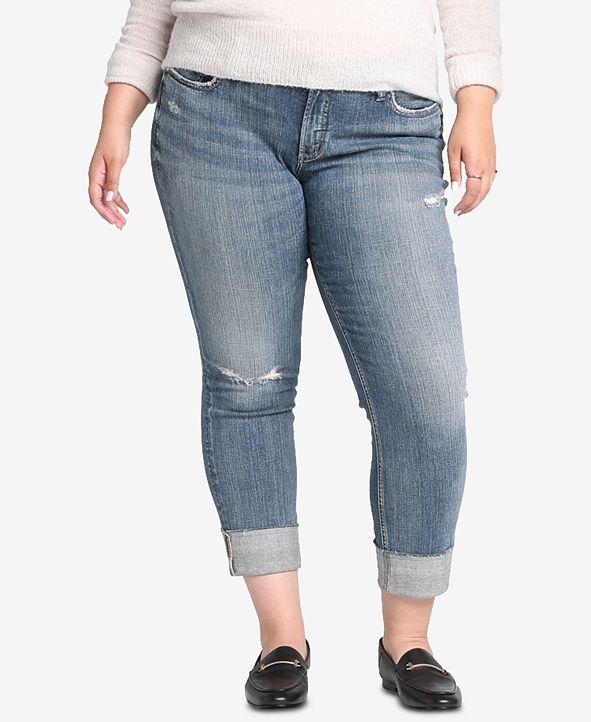 Silver Jeans Co. Plus Size Distressed Boyfriend-Fit Jeans