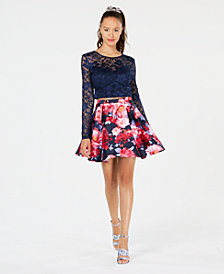 B Darlin Juniors' Lace Floral-Print 2-Pc. Dress