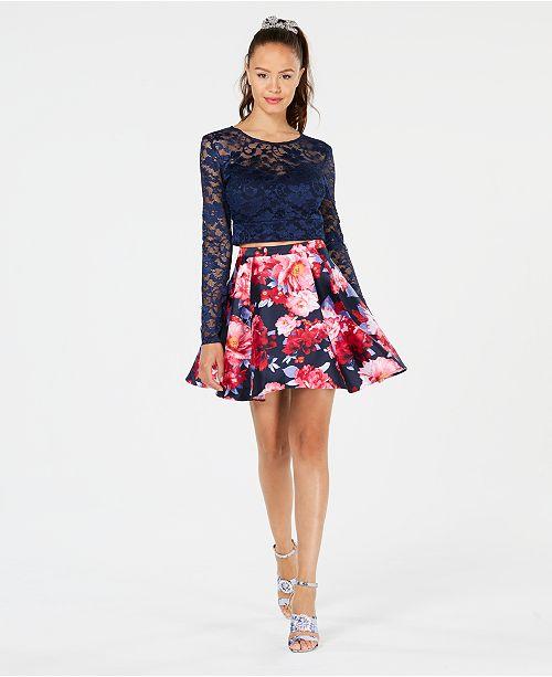 765c85ee77e B Darlin Juniors  Lace Floral-Print 2-Pc. Dress   Reviews - Dresses ...