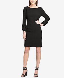 DKNY Balloon-Sleeve Scuba Crepe Dress, Created for Macy's