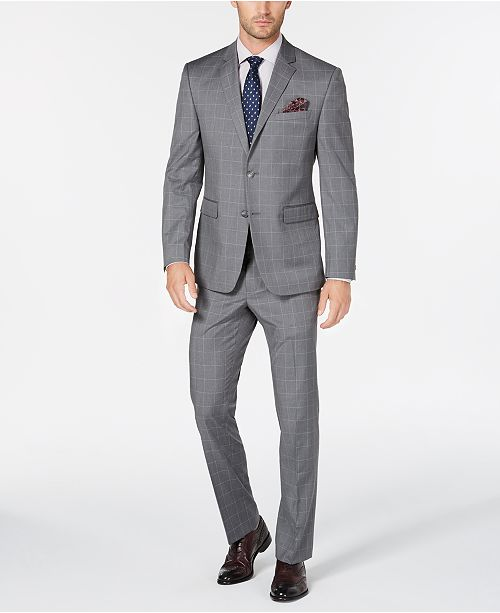 00df2fbd ... Windowpane Suit; Perry Ellis Men's Portfolio Slim-Fit Stretch Light  Gray Windowpane ...