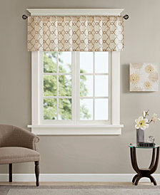 "Madison Park Rein 50"" x 18"" Faux Silk Embroidered Rod Pocket Window Valance"