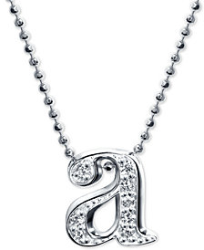 "Alex Woo Diamond Initial ""a"" 16"" Pendant Necklace in 14k White Gold"