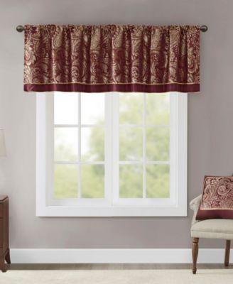 "Aubrey 50"" x 18"" Paisley Jacquard Faux-Silk Rod Pocket Window Valance"