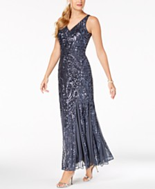 Nightway Sequined Mesh Gown