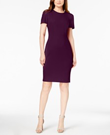 Calvin Klein Seamed Scuba Crepe Sheath Dress