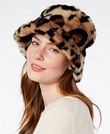 Steve Madden Leopard-Print Faux-Fur Bucket Hat