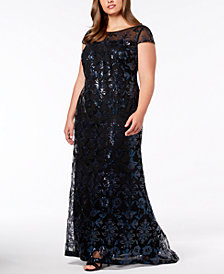Calvin Klein Plus Size Sequined Mesh Gown