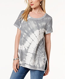 Style & Co Tie-Dyed Vented-Hem Top, Created for Macy's