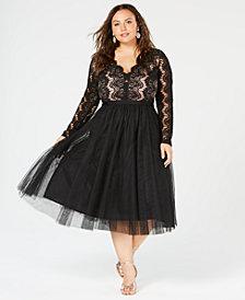 City Chic Trendy Plus Size Rare Beauty Lace & Tulle Dress