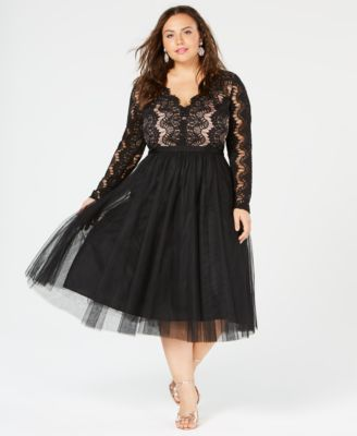 Plus Size Cocktail Dress with Tulle
