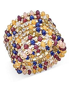 I.N.C. Gold-Tone Multi-Bead Coil Bracelet, Created for Macy's