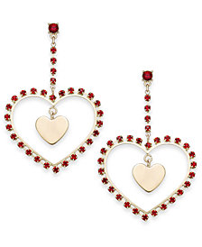 Thalia Sodi Gold-Tone Stone Heart Orbital Drop Earrings, Created for Macy's