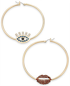 Thalia Sodi Gold-Tone Crystal Evil Eye & Lip Mismatch Hoop Earrings, Created for Macy's