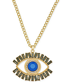 "Thalia Sodi Gold-Tone Stone & Crystal Evil-Eye 16"" Pendant Necklace, Created for Macy's"