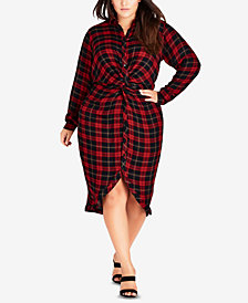 City Chic Trendy Plus Size Twisted Plaid Dress