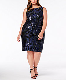 Calvin Klein Plus Size Sleeveless Sequin Sheath Dress
