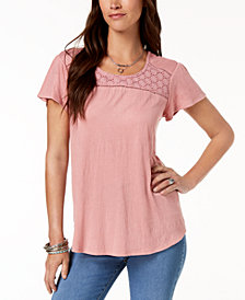 Style & Co Crochet-Contrast T-Shirt, Created for Macy's