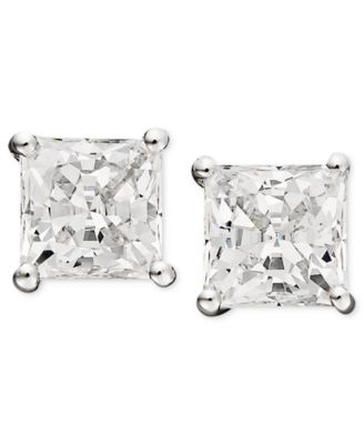14k White Gold Earrings, Swarovski Zirconia Princess Cut Stud Earrings (3-3/4 ct. t.w.)