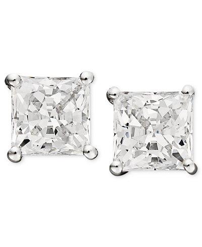 Arabella 14k White Gold Earrings, Swarovski Zirconia Princess Cut Stud Earrings (3-3/4 ct. t.w.)