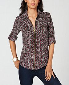 MICHAEL Michael Kors Petite Printed Zip-Front Shirt
