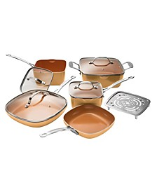 Non-Stick Ti-Ceramic 10 Piece Square Cookware Set