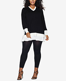 Hanes Plus Size Blackout Footless Tights
