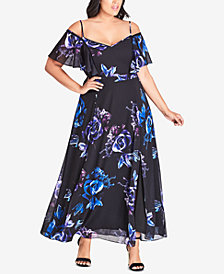 City Chic Trendy Plus Size Electric Rose Printed Maxi Dress